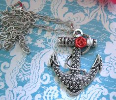 Flower Anchor Necklace- Red Silver Plated Fashion Jewelry Rockabilly Tattoo  #Unbranded #Pendant