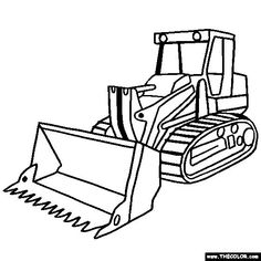 Free Trucks and Construction Vehicle Coloring Pages. Color in this picture of a tracked loader and others with our library of online coloring pages. Save them, send them; they& great for all ages. Online Coloring Pages, Coloring Book Pages, Coloring Sheets, Tractor Coloring Pages, Construction Signs, Construction Birthday Parties, Coloring Pages For Kids, Pickup Trucks, Jeep Pickup