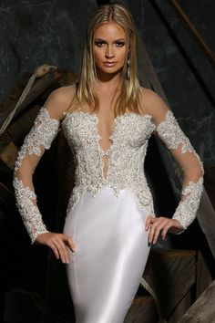 Victor Harper Couture wedding gown style VHC311, close up in silk mikado with long sleeves, illusion lace accents and plunging sweetheart neckline