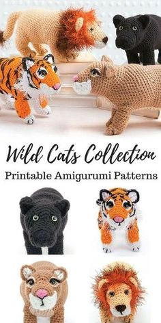 Love this wild cat collection of amigurumi crochet patterns! Amigurumi panther, lion, tiger, and cougar | Crochet pattern for cats | Cat Crochet Pattern | Amigurumi Cats #ad #amigurumi #amigurumidoll #amigurumipattern #amigurumitoy #crochet #crochetpattern #pattern #patternsforcrochet #crochettoys #cat #tigers #panther #cougar #lion