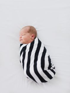 Swaddle Blanket, Black and white Stripe, Cotton Knit by The Little Spoons