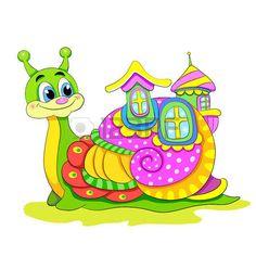 Cartoon funny snail with house. photo
