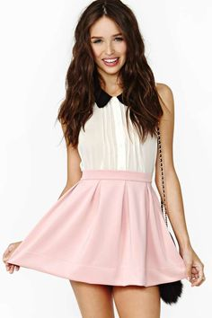 nasty gal. scuba skater skirt. blush. #fashion