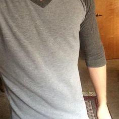Doublju Mens Raglan V-Neck T-shirts CHARCOALBLACK (US-M)