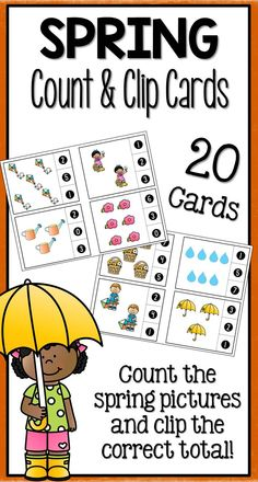 Spring Count and Clip  Students will love practicing counting with these fun spring themed count and clip cards! Each card has a different combination of spring pictures and three possible answers on the side. Students clip which total is correct for the set of spring pictures.