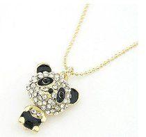 Fashion Popular Panda Bear Necklace Rhinestone Cute Teddy Sweater Necklace Fashion Pendant Jewelry
