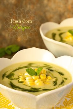 Fresh Corn Bisque, perfect for lunch or, a light dinner w/ a simple green salad. Makes a fabulous appetizer soup!