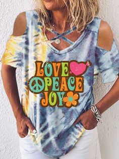 Shirt Bluse, Peace And Love, Retro, Tie Dye, Arm, Shirts, V Neck, Clothes, Sweet