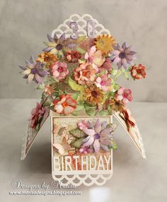 Designs by Marisa: Craft Hoarders Anonymous - Flower Scalloped Pop Up Box