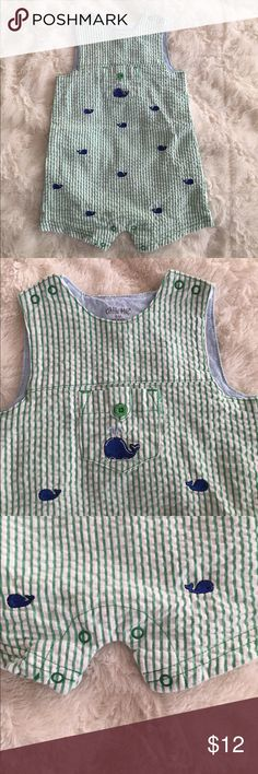 Seersucker onesie ⛵️ The cutest!!!!  Green seersucker with blue embroidered whales. The sweetest outfit Little Me One Pieces
