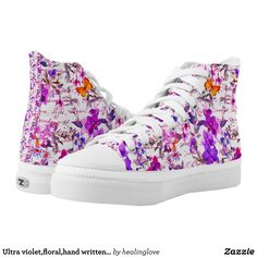 Ultra violetfloralhand written text water color High-Top sneakers - Printed Unisex Canvas Slip-On #Shoes Creative Casual #Footwear #Fashion #Designs From Talented Artists - #sneakers #feet #fashion #design #fashiondesign #designer #fashiondesigner #style - Look sporty stylish and elegant in a pair of unique custom sneakers - Each pair of custom Low Top ZIPZ Shoes is designed so you can fit your style to any wardrobe mood party or occasion - Fashionable sneakers for kids and adults give you a…