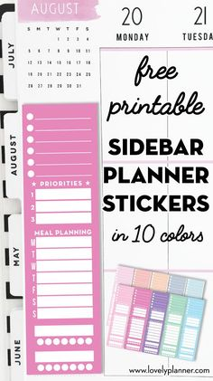 Free Printable Full Side Bar Planner Stickers - Lovely Planner 10 Free Printable Full Side Bar Planner Stickers for Classic Happy Planner, with space to write: weekly to-do, top 3 goals, meal plan, habit trackers. Monthly Planner Printable, Printable Calendar Template, Printable Stickers, Free Printables, Clear Stickers, To Do Planner, Happy Planner, Planner Ideas, Planner Diy