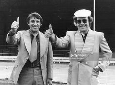 Watford FC's chairman, Elton John seen here with their recently appointed manager Graham Taylor. 1977