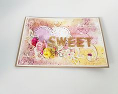 Handmade Paper Greeting Cards Gift For Her And Him Valentines Day Style Shabby Chic Flowers Girl Scrapbook Valentine Scrap Colors Gold Pink Yellow Children Sweet Happy Birthday
