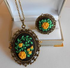 Vintage Style Jewelry Set Adjustable Ring, Necklace by RedWorkStitches