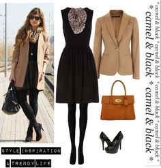 Black dress & AK Camel blazer