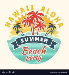 Poster of summer time vintage placard with Vector Image<br> Summer Logo, Beach Illustration, Summer Beach Party, Summer Poster, Vintage Grunge, Kids Prints, Summer Time, Logo Design, Martini