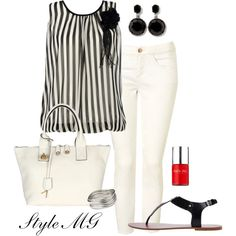"""""""Black and white summer chic"""" by romigr99 on Polyvore love this top"""