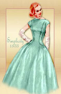1950s Dress Pattern Simplicity 1833 Special Occasion Cocktail Dress with Full Bouffant Skirt Princess Seams Bodice Bust 34