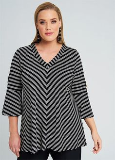 Plus Size Women's Clothing in Australia Plus Size Womens Clothing, Clothes For Women, Corporate Wear, Taking Shape, Stripe Top, Work Tops, Bell Sleeves, Topshop, Tunic Tops