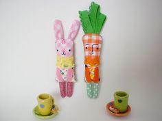 Bunny and Carrot Little Handmade Dolls