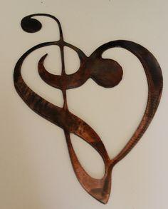 Metal Wall Art Decor Music Heart Notes by HEAVENSGATEMETALWORK