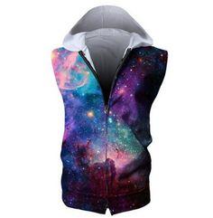 Rainbow Unicorn Mens Sleeveless Full Zip-Up Hoodie Sweatshirt Gym Vest Tank