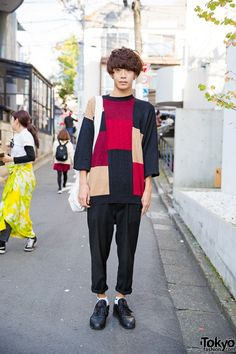 Harajuku Guy w/ Business as Usual Patchwork Sweater & Margaret Howell Bag