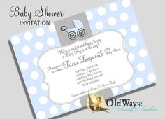 Polka Dot Baby Boy Shower Invitation Blue by OldWaysFussNFeathers