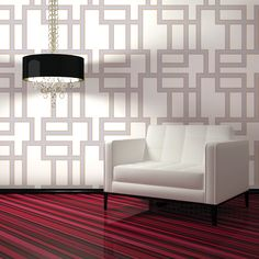 Maze Self Adhesive Wallpaper in Lilac design by Tempaper