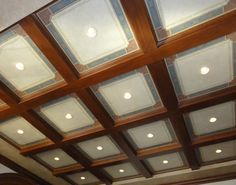 Billiard room coffered ceiling with custom painted ornamentation -Jeff Huckaby Studio Phoenix AZ