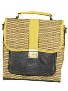Colorblock Straw Bag