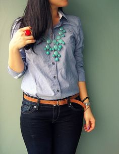 Statement necklace over denim button down. I just got a similar bubble necklace. #HSN #FallFashion