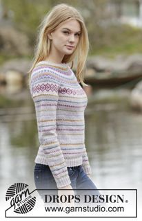Knitted DROPS jumper with round yoke and multi-colored pattern in border in Karisma. Size: S - XXXL. Free knitting pattern by DROPS Design. Fair Isle Knitting Patterns, Sweater Knitting Patterns, Knit Patterns, Free Knitting, Drops Design, Crochet Jacket, Knit Crochet, Crochet Clothes, Diy Clothes