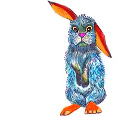 Colorful confused bunny.