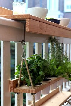 Balcony shelves for plants.  Great idea!