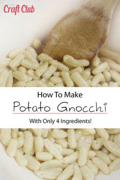 4 Ingredient Gnocchi From Scratch - How To Make Gnocchi At Home Best Gnocchi Recipe, Potato Gnocchi Recipe, Gnocchi Recipes, Pasta Recipes, Skillet Recipes, Recipes Dinner, Best Food Processor, Food Processor Recipes, Making Gnocchi