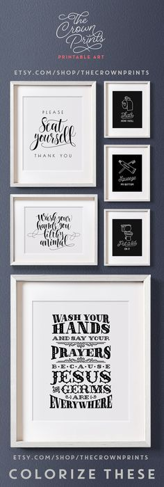 Printable bathroom art from The Crown Prints on Etsy. Colorize these at crownprintscolor.com!