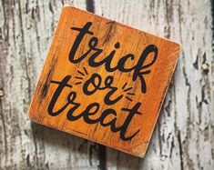 Excited to share this item from my shop: Halloween Decor Halloween Wood Signs, Fall Wood Signs, Wooden Signs, Halloween Decorations, Wood Wick Candles, Fall Candles, Painted Signs, Hand Painted, Wood Kitchen Signs