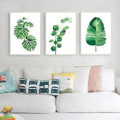 Nordic Decoration Watercolor Plant Leaves Poster Prints Canvas Wall Art Painting #Modernism