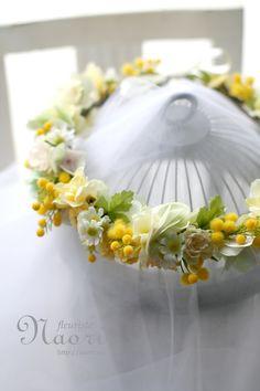 Mimosa Chamomile flower crown / Yellow Green ミモザとカモミールの花冠 イエロー×グリーン
