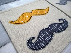 Retro Style Moustache Drinks Coasters - Gift for Him - Fabric Linen Coasters - Appliqué Moustache Drinks Coasters - Set of 2 Coasters by TheCornishCoasterCo on Etsy