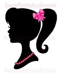 Retro Barbie Silhouette Set of 4 Nursery/Childs room/ Playroom