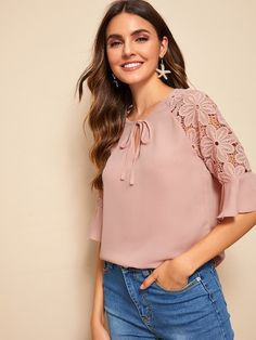 To find out about the Guipure Lace Insert Flounce Sleeve Top at SHEIN, part of our latest Blouses ready to shop online today! Lace Insert, Raglan, Lace Sleeves, Types Of Sleeves, Blouses For Women, Women's Blouses, Collection, Turtle Tattoos, Tribal Tattoos