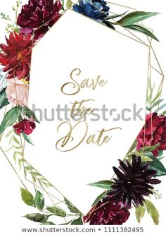 87e6b04d731a Watercolor floral illustration - burgundy flowers wreath   frame with gold  geometric shape and crystal