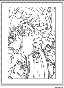 Frame bordered black and white #vintage coloring Father #Christmas clip art.