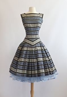 RESERVED// Vintage 1950s Cotton Dress ~ Vintage 50s Dress Sailor Stripes by Flair ~ Adorable 1950s Striped Dress