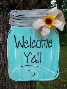 Mason Jar Door Hanger Summer Door Hanger by BluePickleDesigns $45 OBSESSED!!!