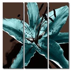 The Lily Collection Teal Choco Tryptch  Lily tryptch canvas prints in teal and chocolate brown. Original photograph taken by Lucy Art graphic artist John Goddard. Limited edition floral art work, EXCLUSIVE TO LUCY ART YOU WILL NOT SEE ANYWHERE ELSE. Canvas is wrapped around 1.5 inch frame and stapled on the back, ready to hang.