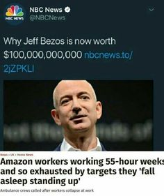 """Jeff Bezos is just a Walton with a cooler company. Also massively anti-union...one of the reasons he's moving Amazon to a """"right to work"""" state. Right-to-work is a deceptive phrase that actually means the corporation has all the rights and employees have zero rights. Hence the 55-hour work weeks."""